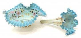 (2) Victorian Cased Brides Basket & Epergne Flute