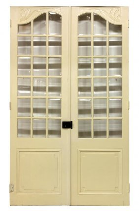 (pair) French Painted Beveled Glass Doors