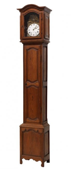 French Pine Cased Grandfather Clock, 19th C.
