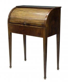 French Walnut Roll Top Writing Desk