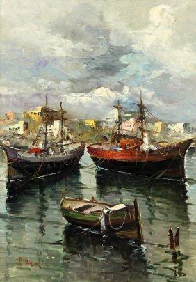 Framed Oil Painting Boats, Italian School 20th C