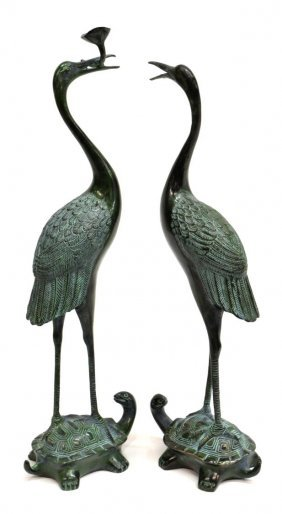 (2) Asian Verde Patinated Bronze Crane & Turtle
