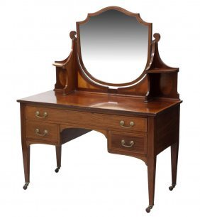 English Mahogany Mirrored Dressing Table/ Vanity