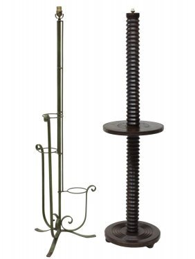(2) French Wooden And Patinated Metal Floor Lamps