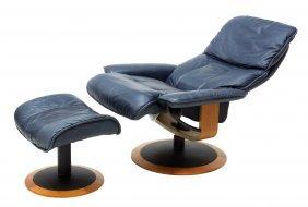 (2) Ekornes Modern 'stressless' Chair & Ottoman
