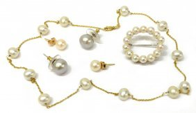 (6) Group Of Ladies Pearl Jewelry, Mikimoto Brooch