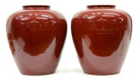 (2) Chinese Sang-de-boeuf Wine Jars / Vases