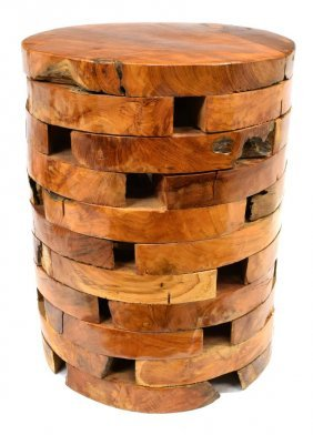 Contemporary Teak Stacked Round Side Table