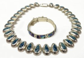 (2) Modernist Mexico Silver Necklace & Bracelets