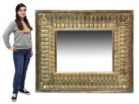 Large Parcel Gilt Beveled Wall Mirror, 20th C.
