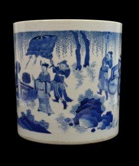 Large Chinese Blue Underglaze Porcelain Brush Pot