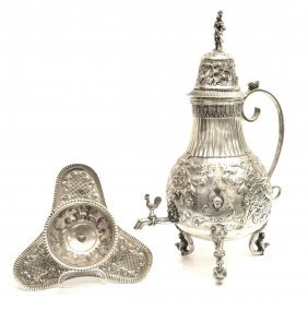 (2) Antique Dutch Repousse Silver Coffee Urn