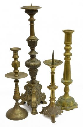 (4) French Brass & Bronze Candle Holders
