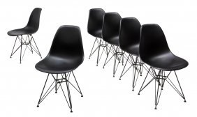 (6) Charles Eames Molded Plastic Wire Base Chairs