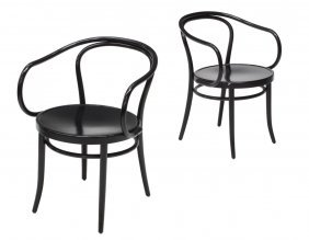 "(2) Ton Thonet Black ""6009 Viennese"" Chairs"