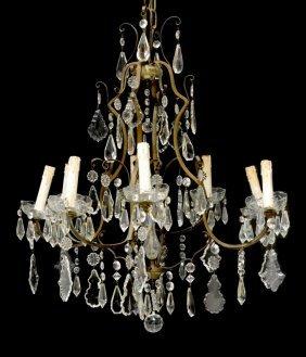 Italian Crystal & Gilt Brass 8-light Chandelier