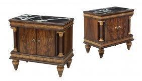 (2) Empire Revival Figured Walnut Bedside Cabinets