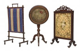 (3) French Fire Screens And Embroidered Tilt Table