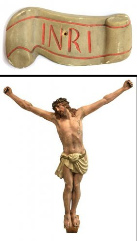 Antique French Religious Statue Crucified Christ