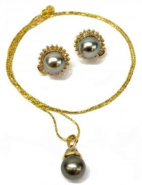 (3) Ladies Tahitian Pearl & Diamond 14k Gld Suite