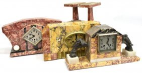 (5) Collection Of French Art Deco Marble Clocks