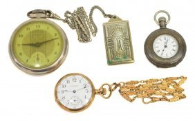 (3) Pocket Watches With Lady Waltham
