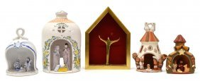 (5) Group Of Pottery Bell Jar Nativity Scenes