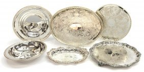 (6) Collection Of Silverplate Trays & Bowls