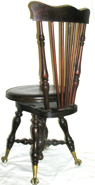 346 Antique Claw Foot Piano Stool High Back Lot 346