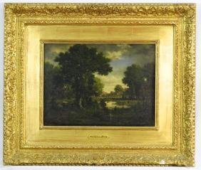 """Oil Painting On Panel Signed N. Diaz, 10"""" X 14"""", """"foret"""