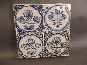 A Set Of Four Antique Delft Blue And White Tiles