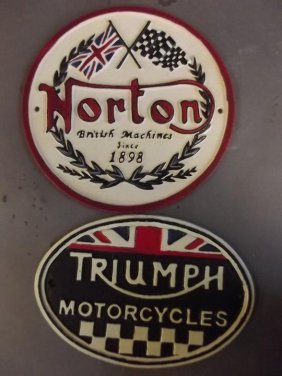 Two Cast Metal Advertising Signs 'triumph Motorcycles'