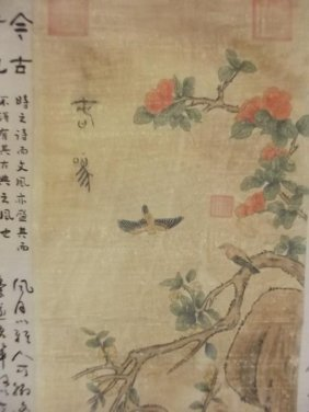 An Oriental Scroll Painted With Birds And Calligraphy,