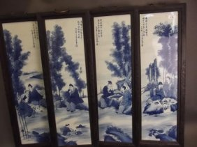 A Set Of Four Chinese Blue And White Porcelain Panels,