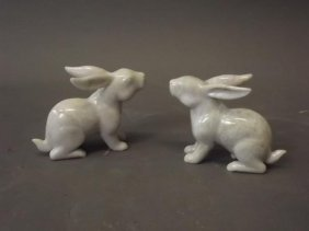 """A Pair Of Chinese Mountain Jade Figures Of Hares, 4"""""""