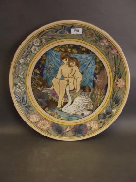 A Large Porcelain Charger Painted With Nude Figures And