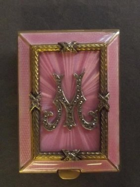 A Russian Silver, Gilt And Enamel Card Case Decorated