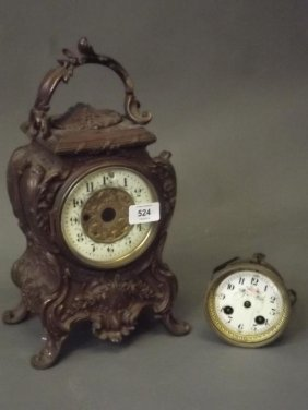 A C19th Bronzed White Metal Mantle Clock, The Brass
