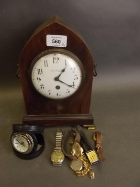 A Late C19th Lancet Shaped Rosewood Mantle Clock, The