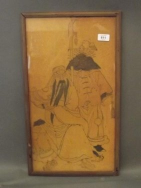 A Japanese Woodblock Print Of Two Immortals, Framed,
