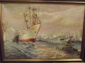 A Chinese Oil On Canvas, Shipping Scene, Signed, C1952,