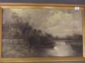A C19th Oil On Canvas, River Landscape With Dwellings