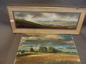 Geoffrey Rawlins, Oil On Board, Extensive Landscape,
