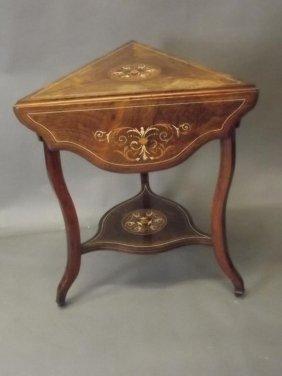 Edwardian Inlaid Rosewood Corner Table With Three Petal