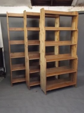 "A Set Of Three Pine Open Bookcases, 37"" X 13"" X 78"""