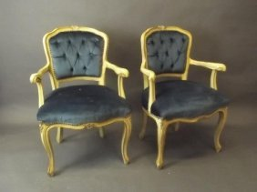 A Pair Of Italian Painted And Parcel Gilt Salon Chairs