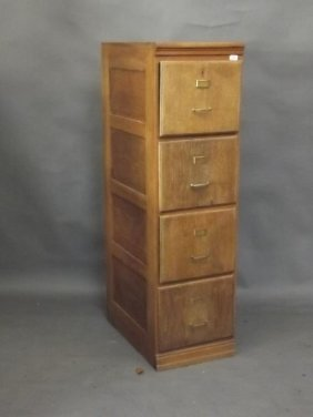 An Early C20th French Oak Four Drawer Filing Cabinet,