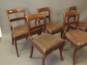 A Set Of Five Mahogany Bar Back Dining Chairs On Sabre