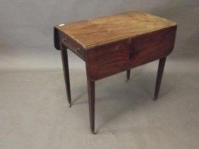A C19th Mahogany Drop Leaf Pembroke Table With Single