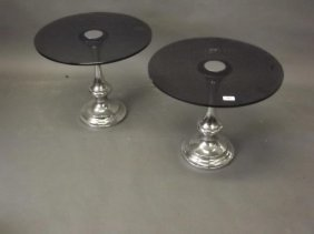 A Pair Of Chrome And Occasional Tables With Smoked